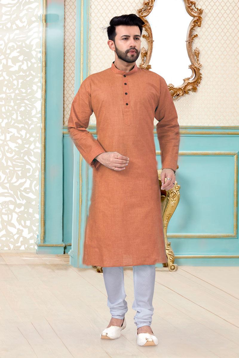Rust Color Linen Cotton Fabric Sangeet Wear Fancy Mens Kurta Pyjama