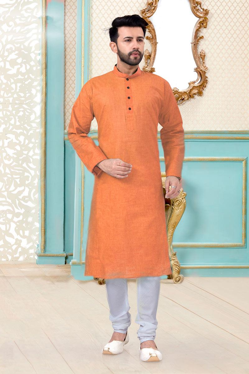 Peach Color Linen Cotton Fabric Wedding Wear Stylish Mens Kurta Pyjama