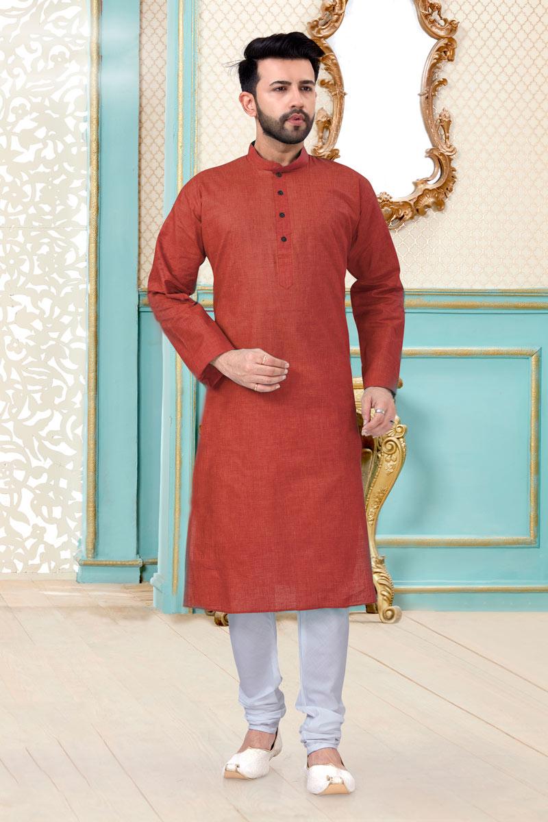 Maroon Color Linen Cotton Fabric Reception Wear Trendy Mens Kurta Pyjama