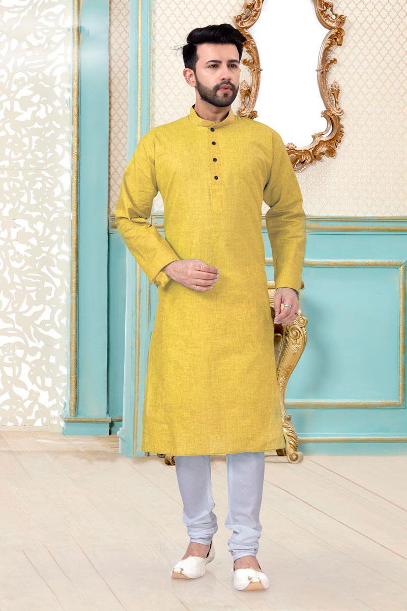 Yellow Color Linen Cotton Fabric Function Wear Designer Mens Kurta Pyjama