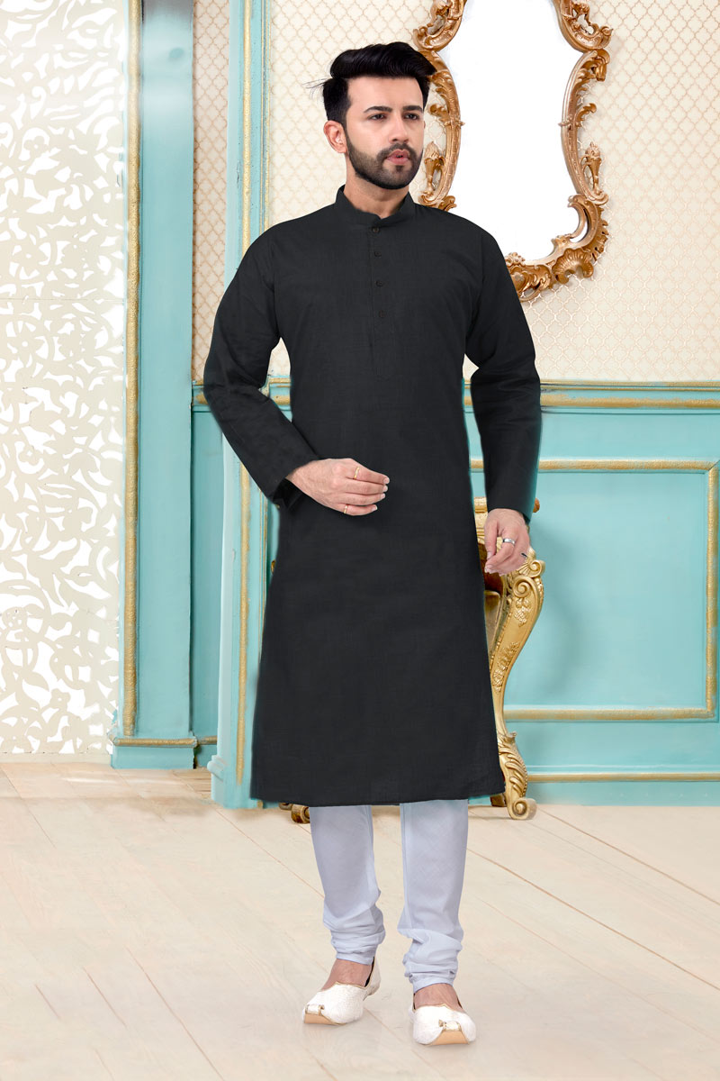 Black Color Linen Cotton Fabric Festive Wear Fancy Mens Kurta Pyjama