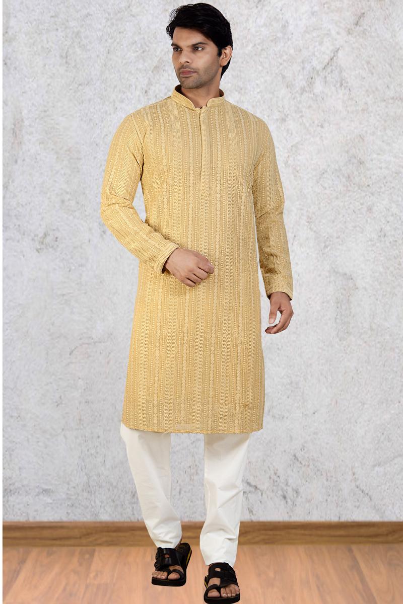 Cream Color Georgette Fabric Designer Kurta Pyjama For Men