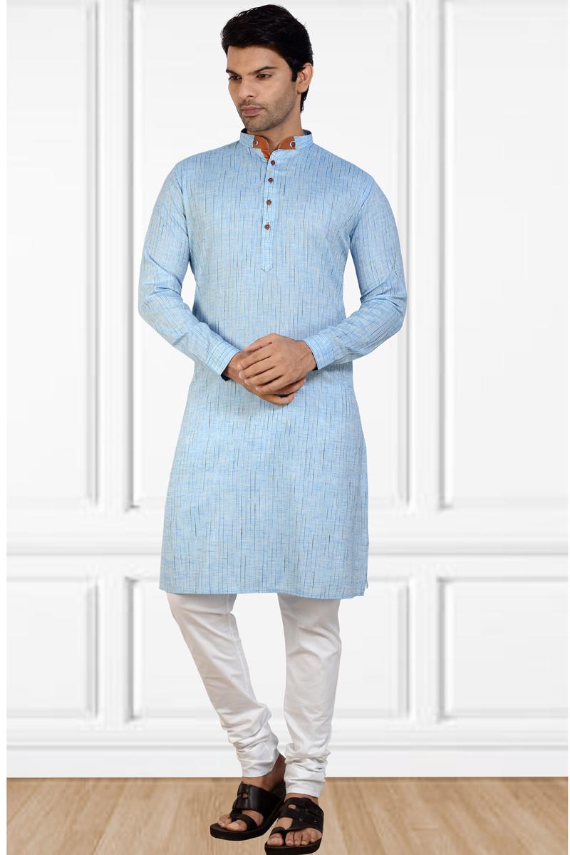 Sangeet Wear Cotton Fabric Kurta Pyjama In Sky Blue Color For Men