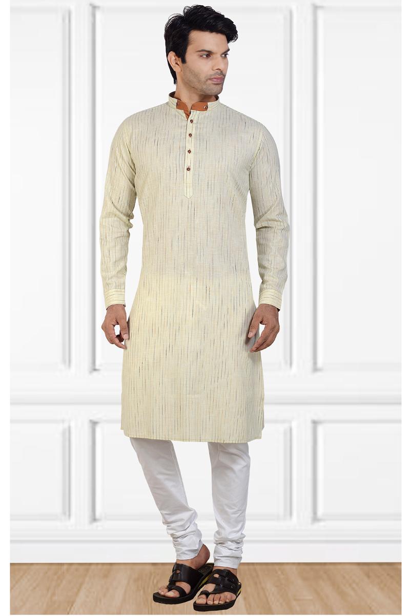 Beige Color Cotton Fabric Designer Kurta Pyjama For Men