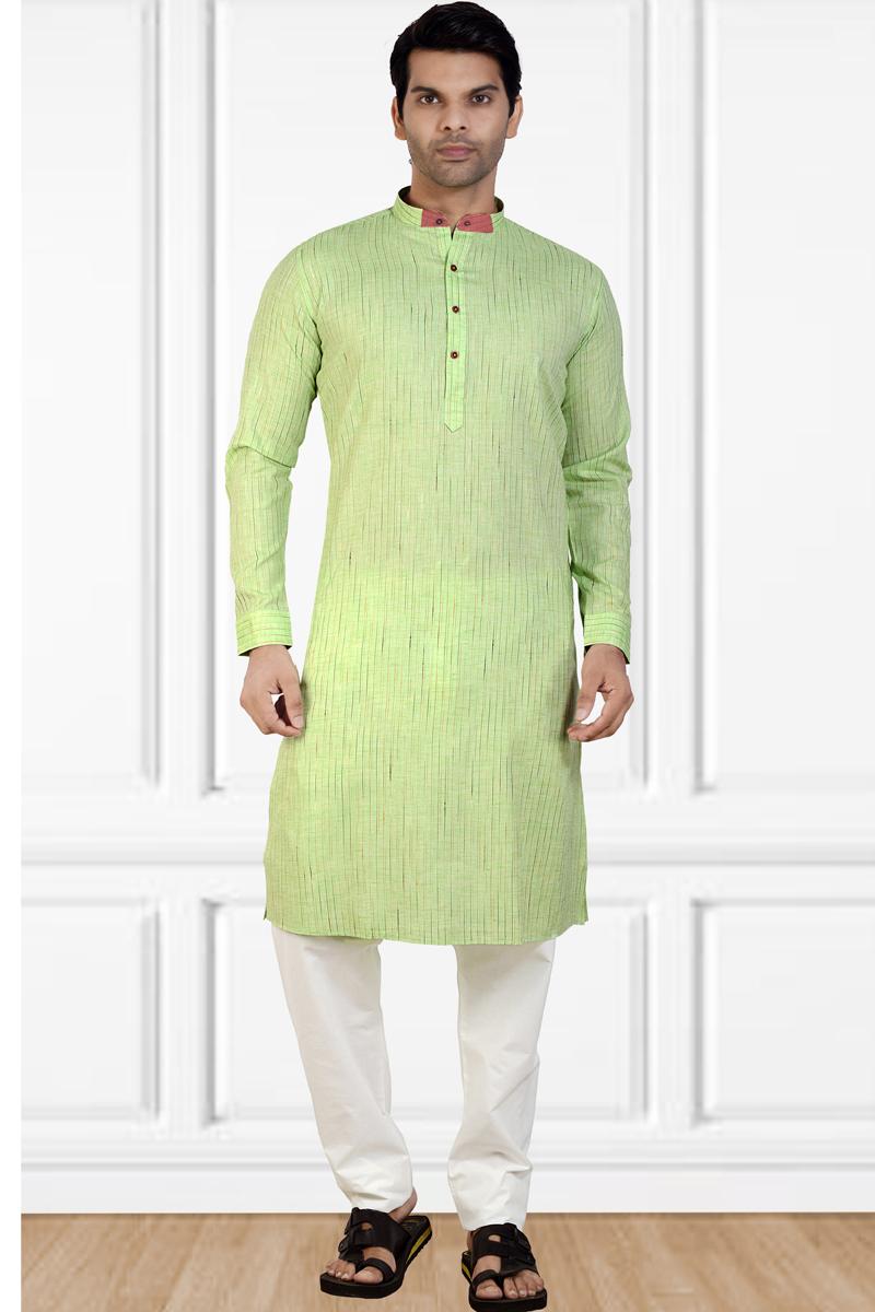 Mens Function Wear Cotton Fabric Green Color Kurta Pyjama