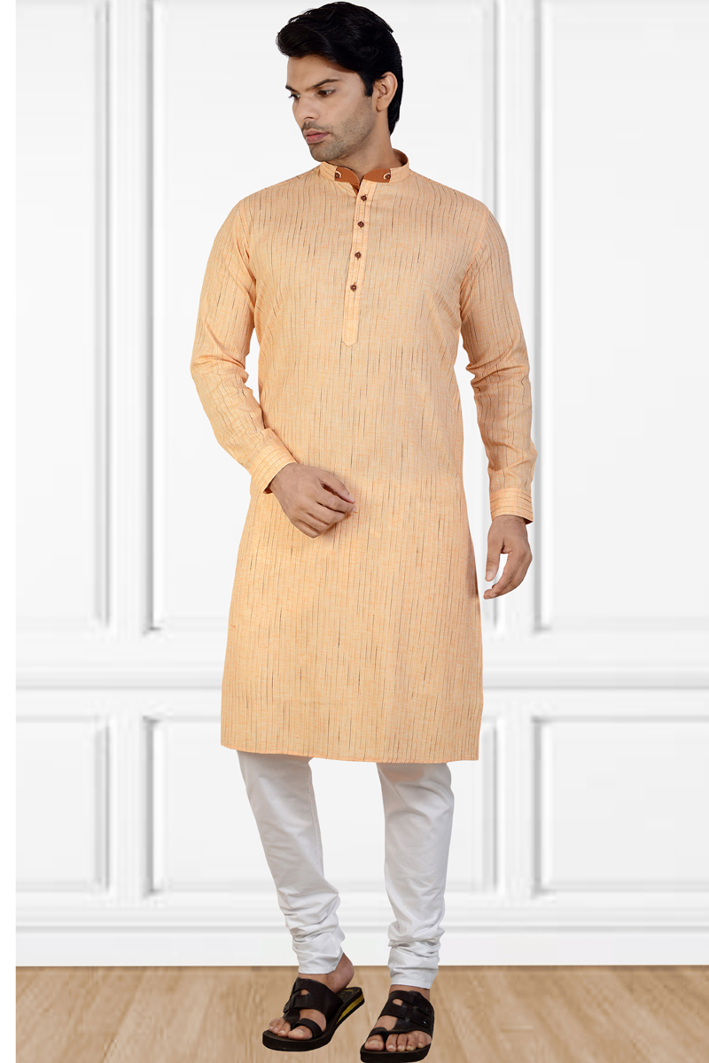 Function Wear Cotton Fabric Kurta Pyjama In Peach Color For Men