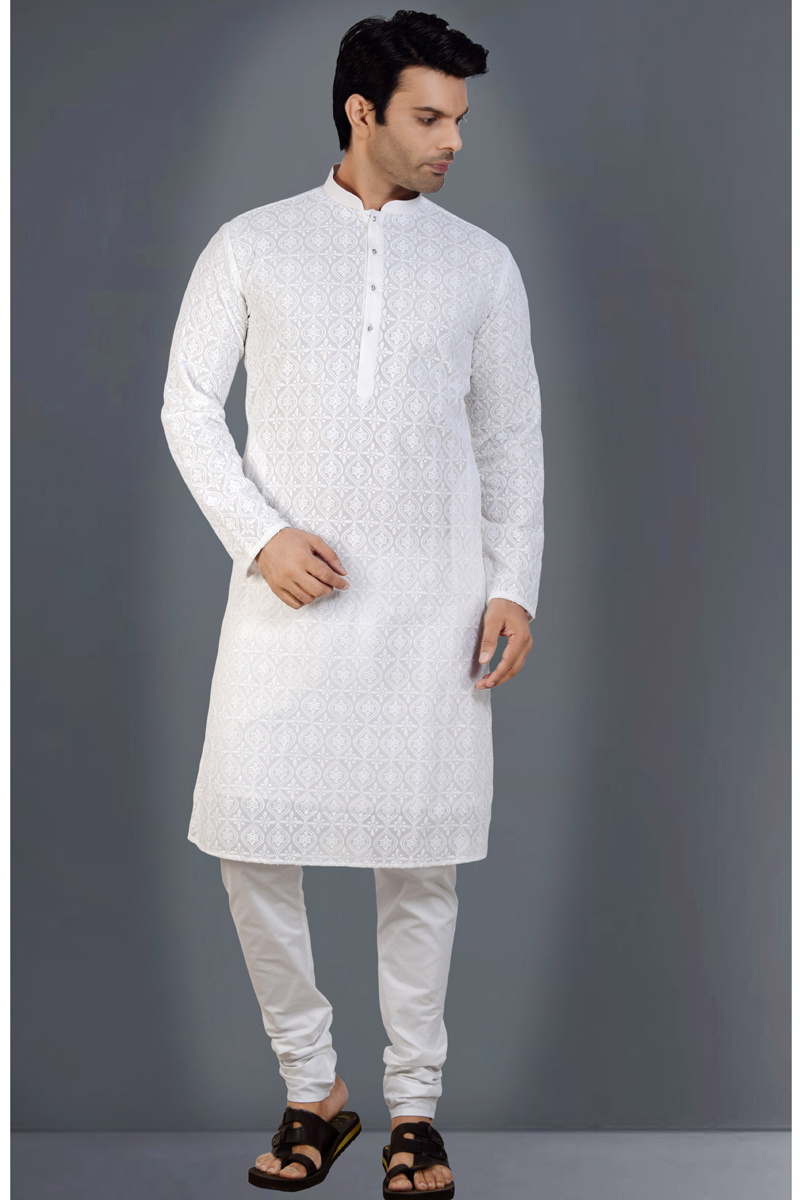 Georgette Fabric White Color Function Wear Kurta Pyjama