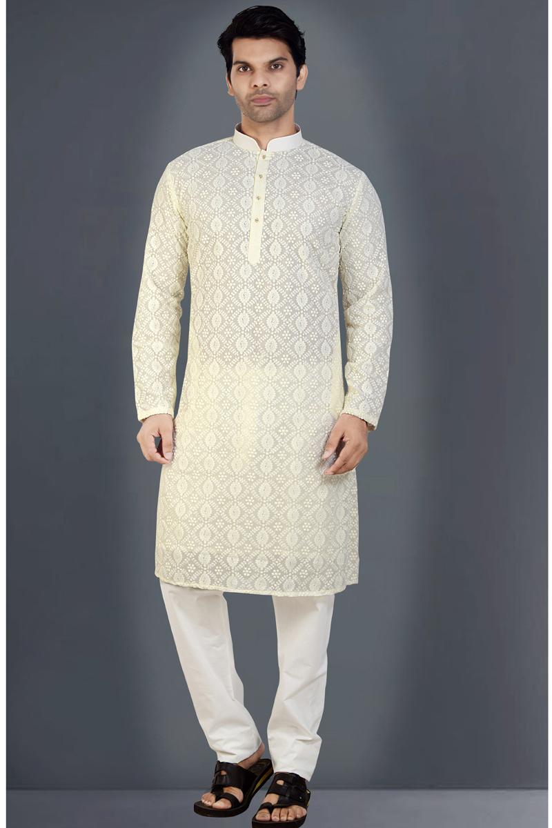 Mens Function Wear Georgette Fabric Beige Color Kurta Pyjama