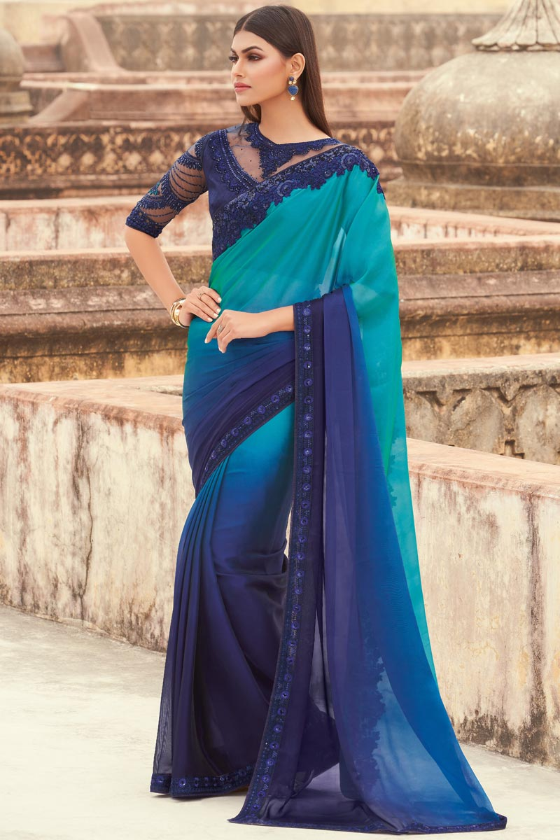 Navy Blue Color Georgette Fabric Party Wear Designer Saree