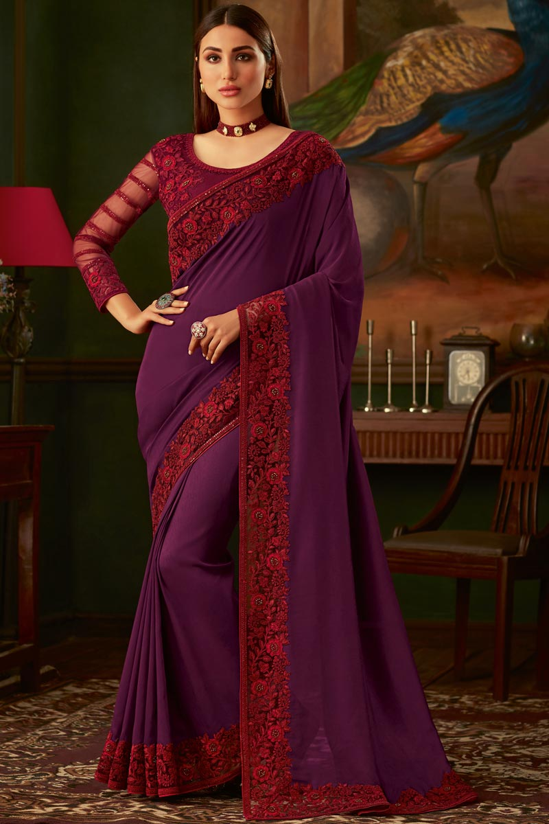 Eid Special Art Silk Fabric Purple Color Function Wear Designer Border Work Saree With Heavy Blouse