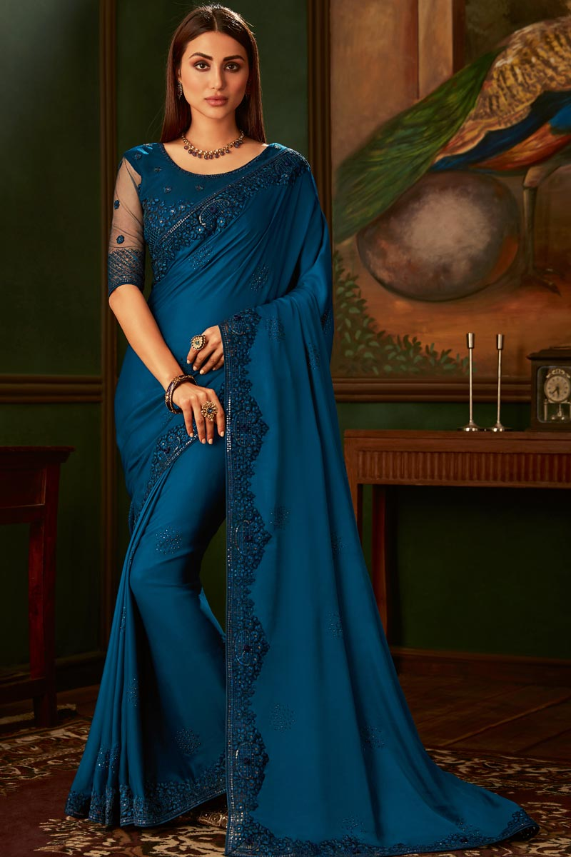 Eid Special Sky Blue Color Art Silk Fabric Function Wear Designer Border Work Saree With Heavy Blouse