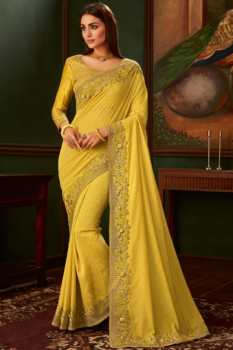 Art Silk Fabric Function Wear Designer Yellow Color Border Work Saree With Fancy Blouse