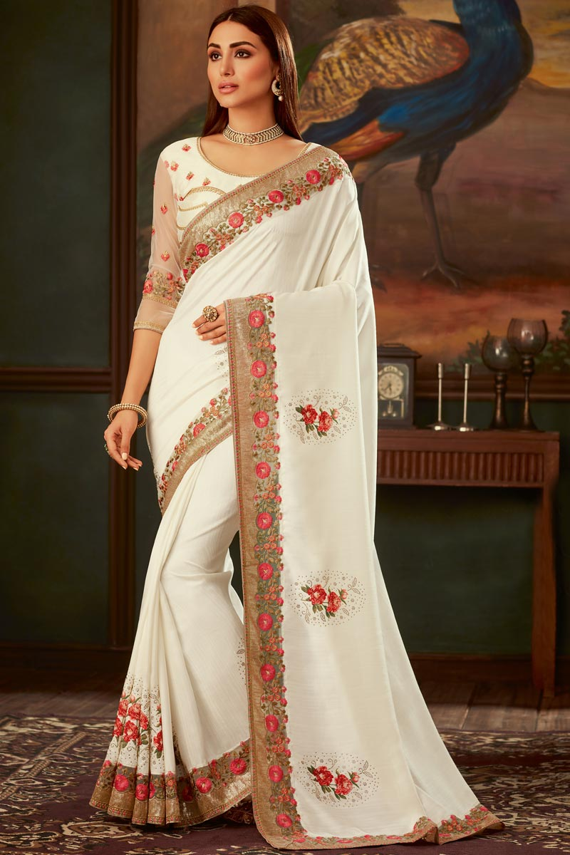 Eid Special Art Silk Fabric Function Wear Designer Off White Color Border Work Saree With Fancy Blouse