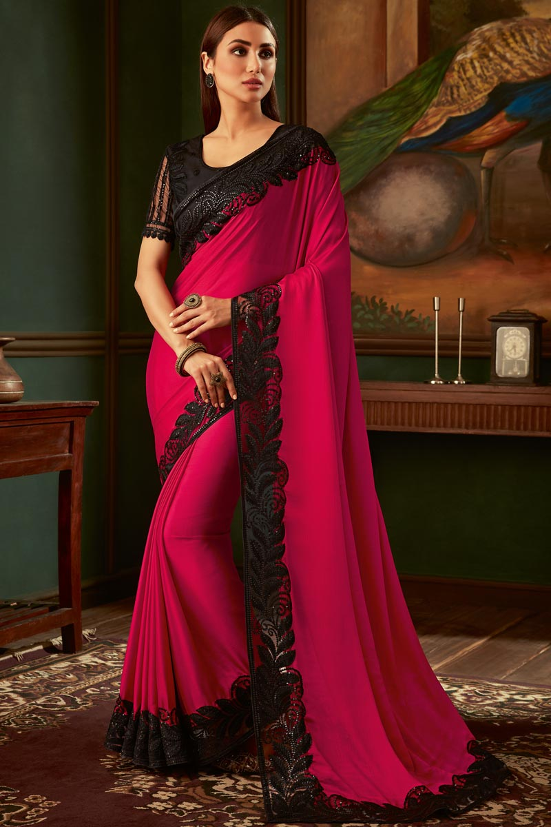 Eid Special Georgette Fabric Function Wear Designer Dark Pink Color Border Work Saree With Fancy Blouse