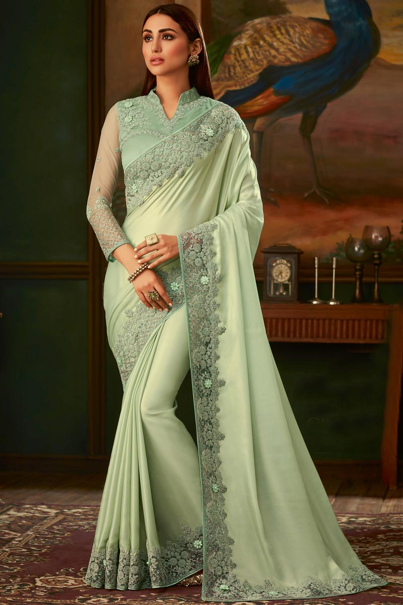 Eid Special Sea Green Color Art Silk Fabric Function Wear Designer Border Work Saree With Heavy Blouse