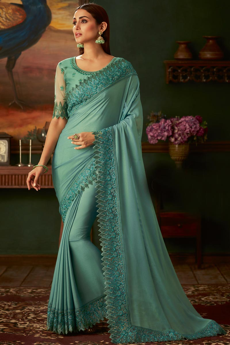 Eid Special Border Work On Turquoise Color Function Wear Designer Saree With Fancy Blouse In Georgette Fabric