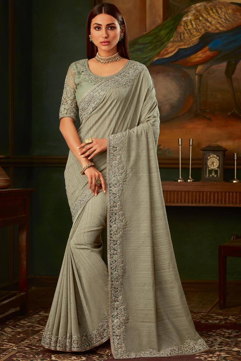 Eid Special Art Silk Fabric Dark Beige Color Function Wear Designer Border Work Saree With Heavy Blouse