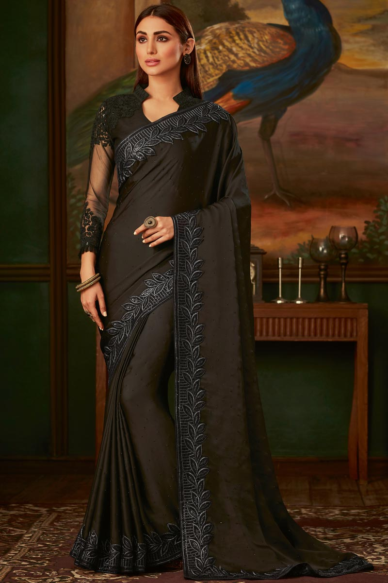 Black Color Function Wear Designer Satin Fabric Border Work Saree With Fancy Blouse