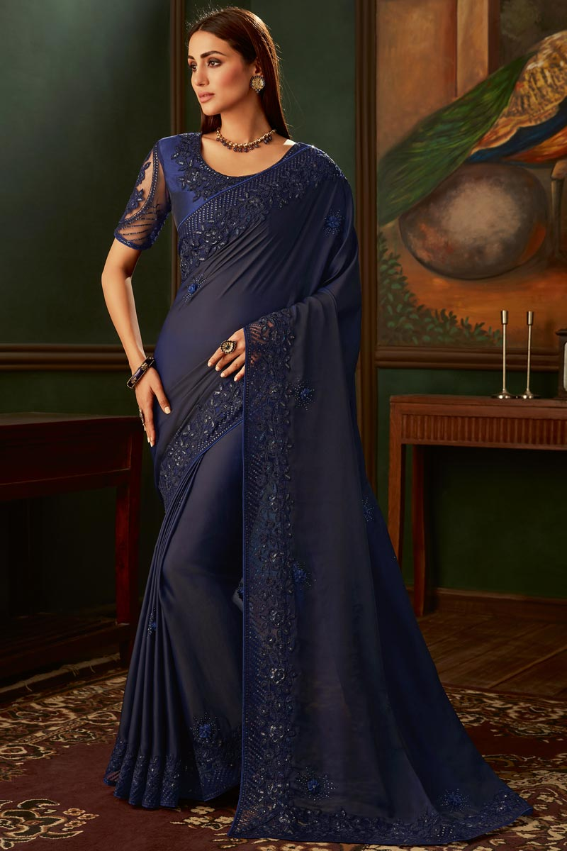 Eid Special Art Silk Fabric Navy Blue Color Function Wear Designer Border Work Saree With Heavy Blouse