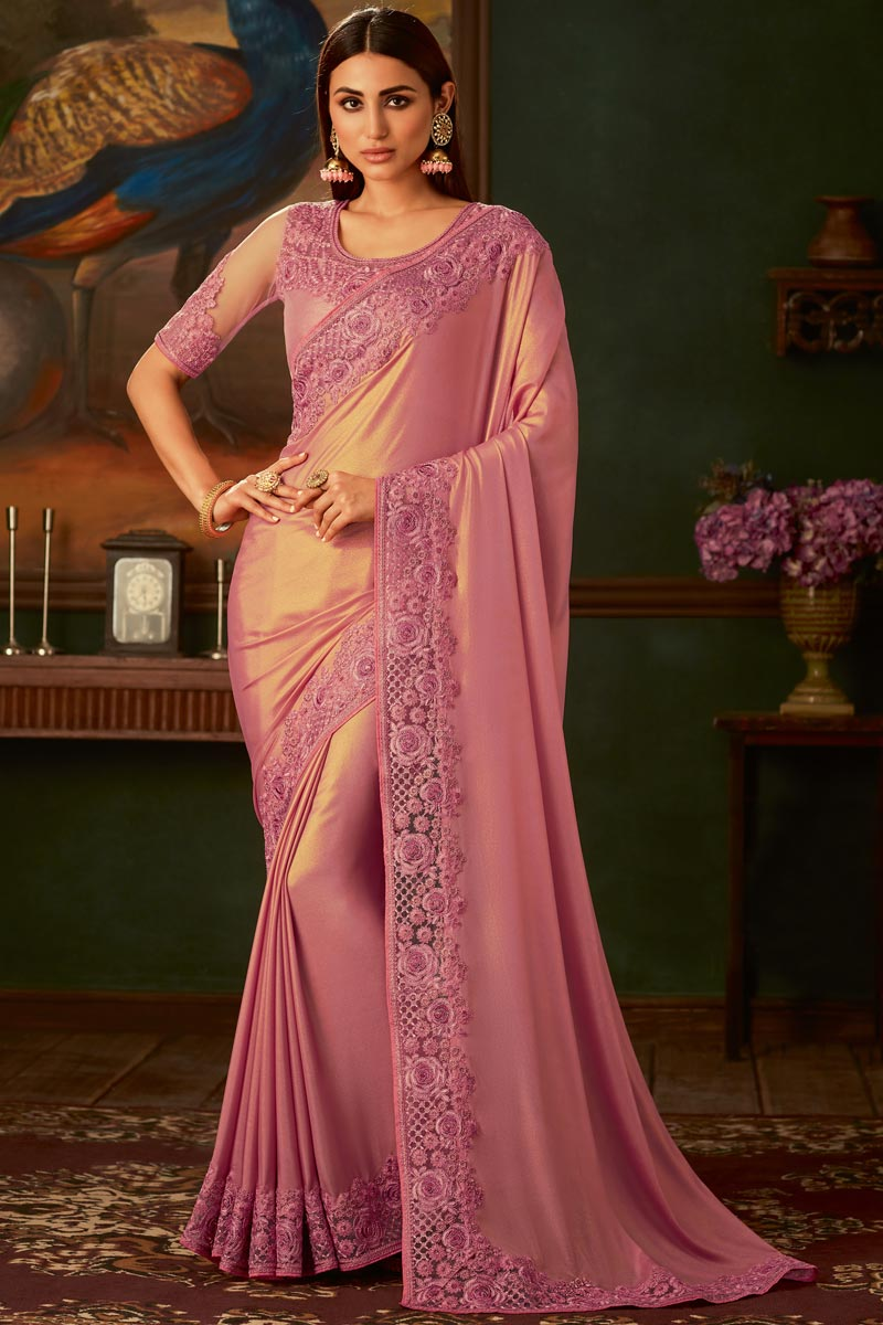 Georgette Fabric Pink Color Function Wear Designer Border Work Saree With Heavy Blouse