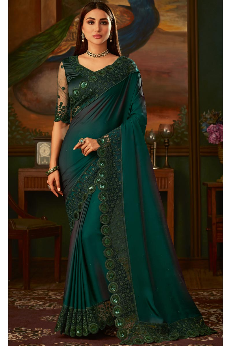 Eid Special Art Silk Fabric Dark Green Color Traditional Wear Designer Border Work Saree With Heavy Blouse