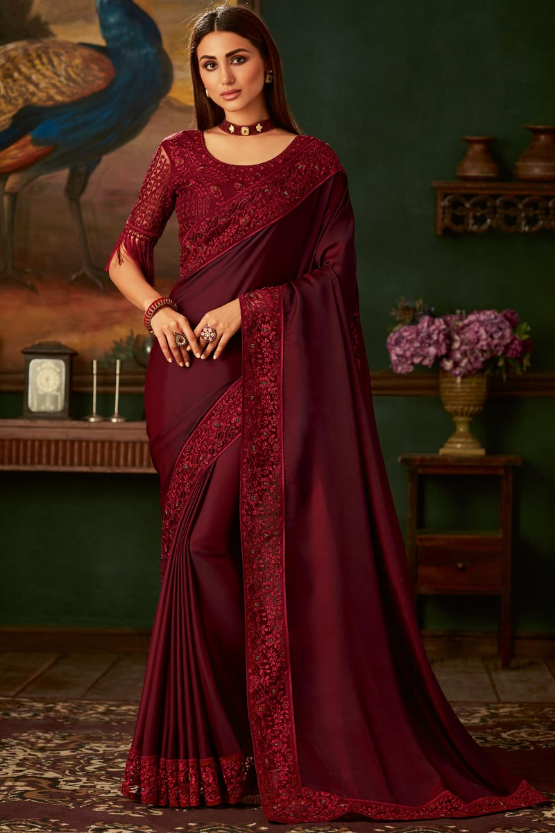 Border Work On Art Silk Fabric Traditional Wear Designer Saree With Fancy Blouse In Maroon Color