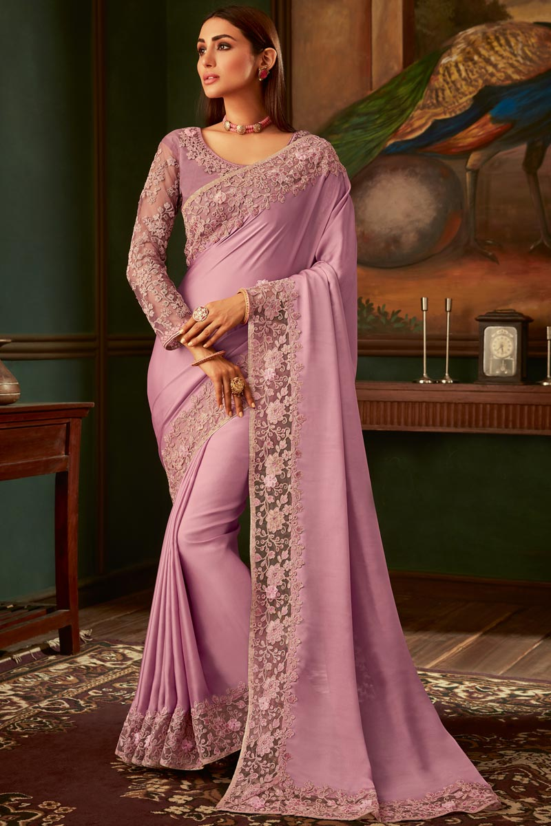 Pink Color Georgette Fabric Traditional Wear Designer Border Work Saree With Heavy Blouse