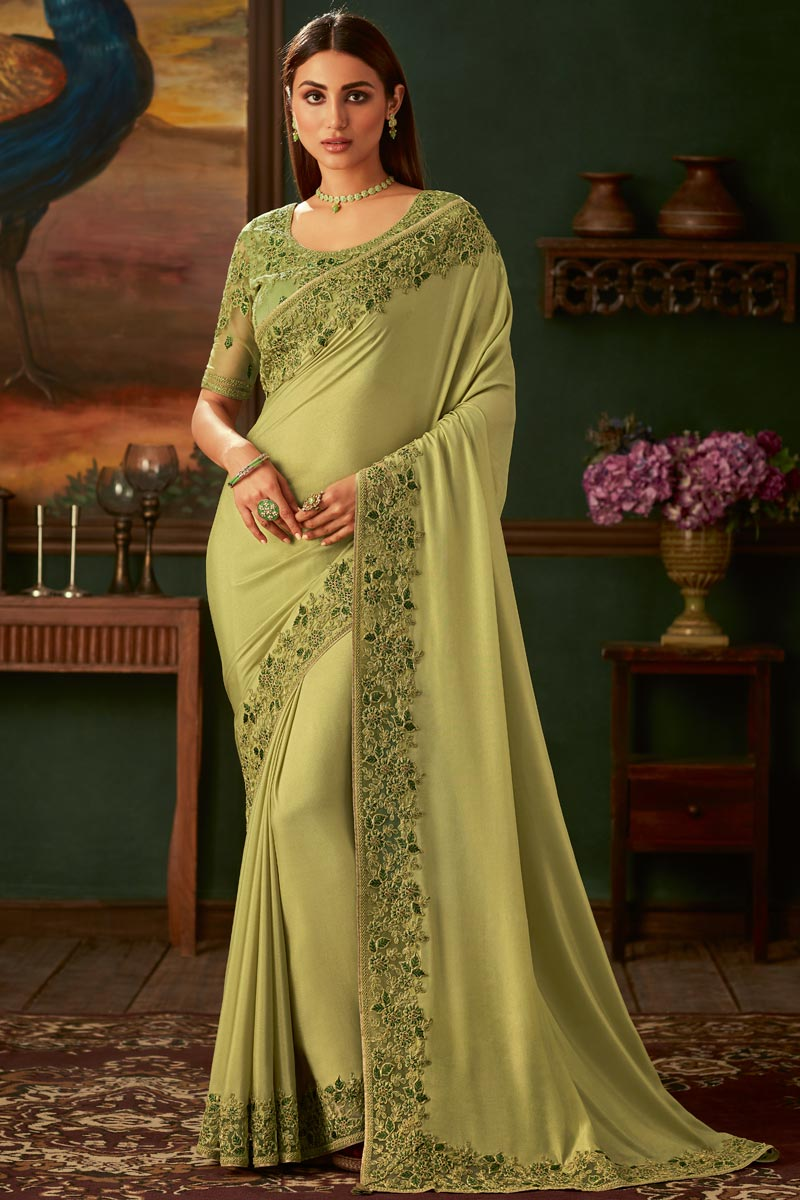 Eid Special Georgette Fabric Traditional Wear Designer Green Color Border Work Saree With Fancy Blouse