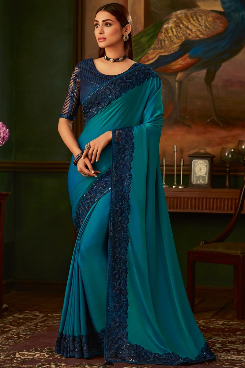 Eid Special Sky Blue Color Art Silk Fabric Traditional Wear Designer Border Work Saree With Heavy Blouse