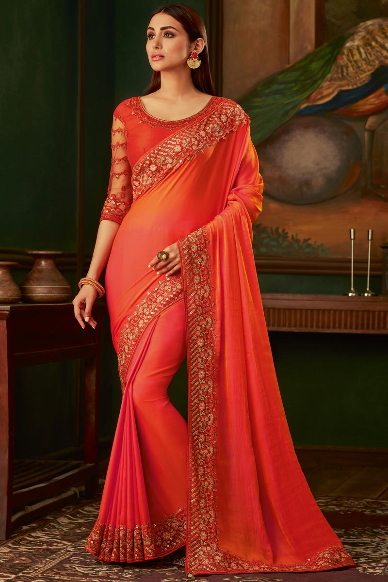 Orange Color Function Wear Designer Art Silk Fabric Border Work Saree With Fancy Blouse