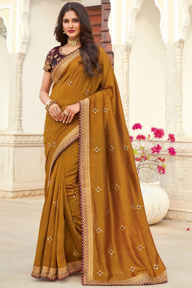 Art Silk Fabric Designer Embroidered Festive Wear Saree In Mustard Color