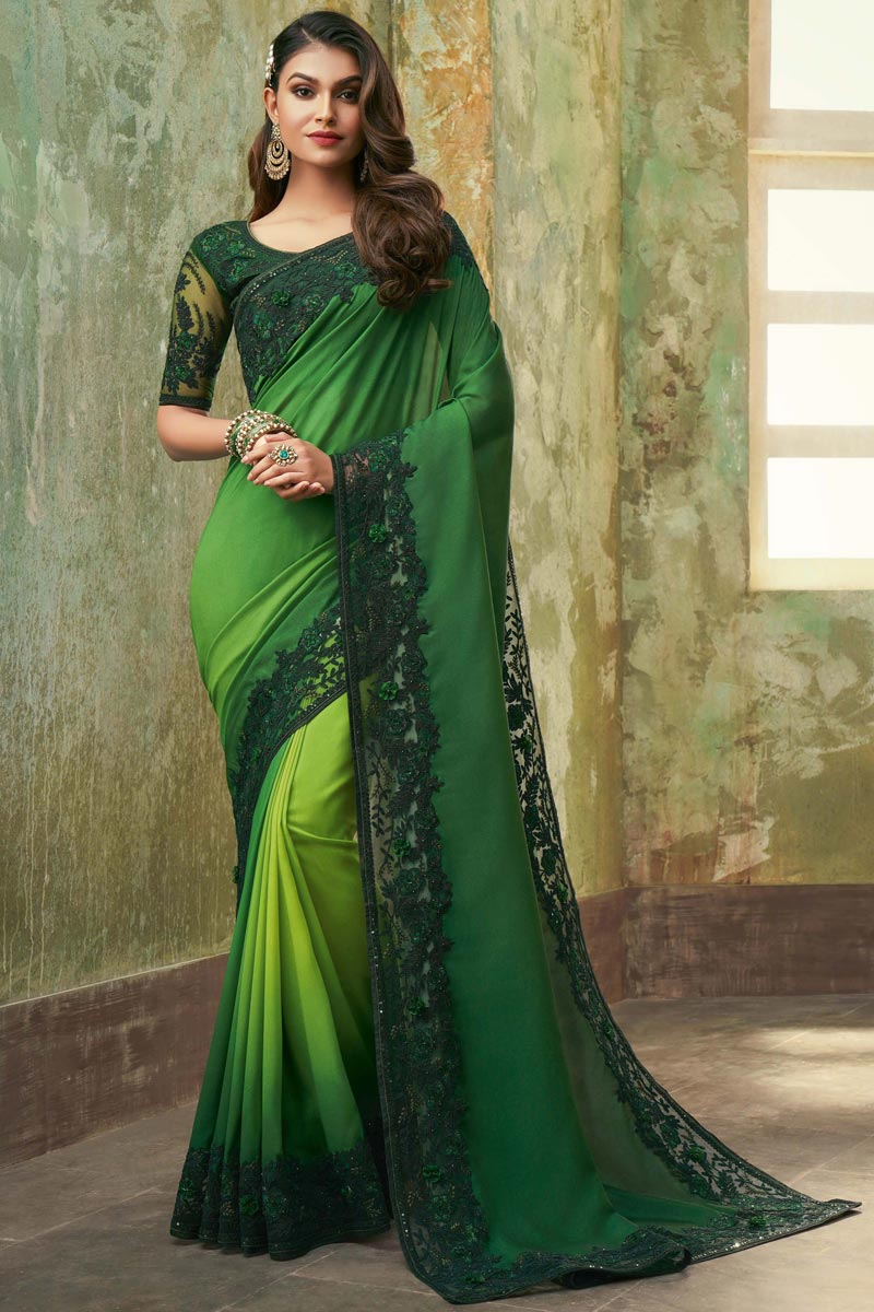 Chiffon Fabric Party Wear Saree In Green Color
