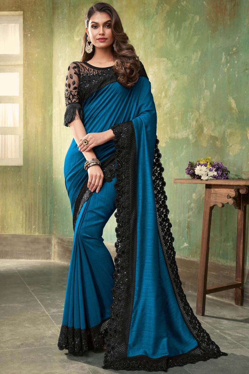 Sky Blue Color Traditional Saree In Art Silk Fabric