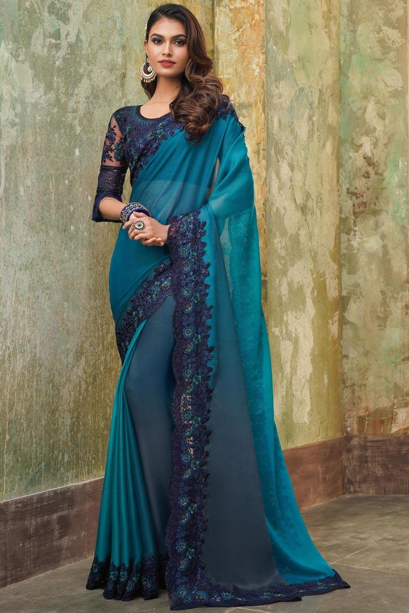Chiffon Fabric Sky Blue Color Designer Saree