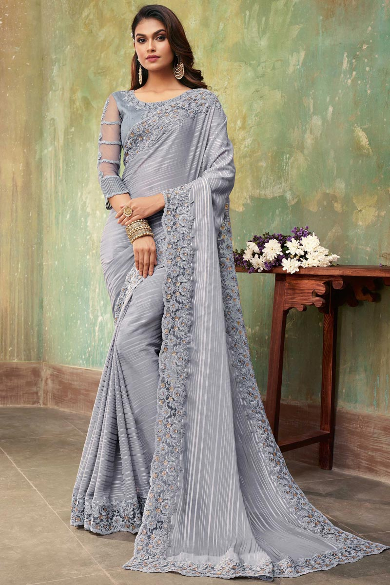 Grey Color Party Wear Saree In Chiffon And Art Silk Fabric