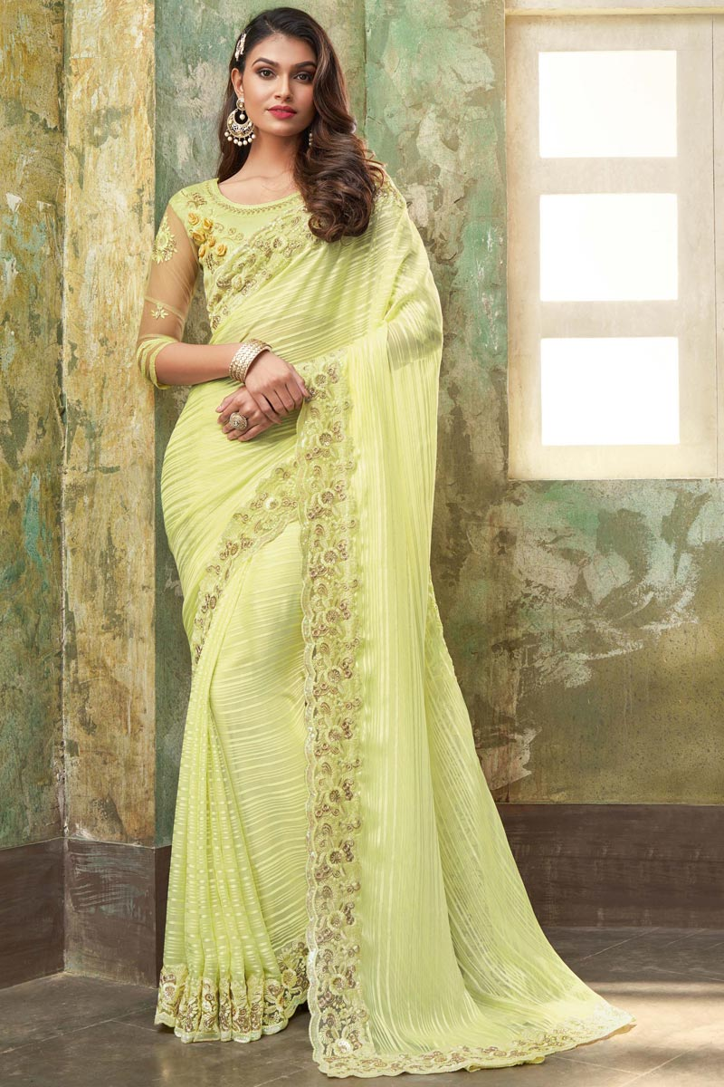 Chiffon And Art Silk Fabric Designer Saree In Yellow Color