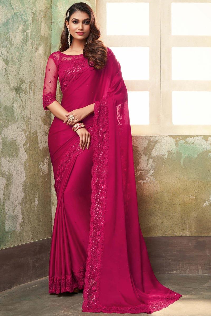 Designer Dark Pink Color Art Silk Fabric Party Wear Saree
