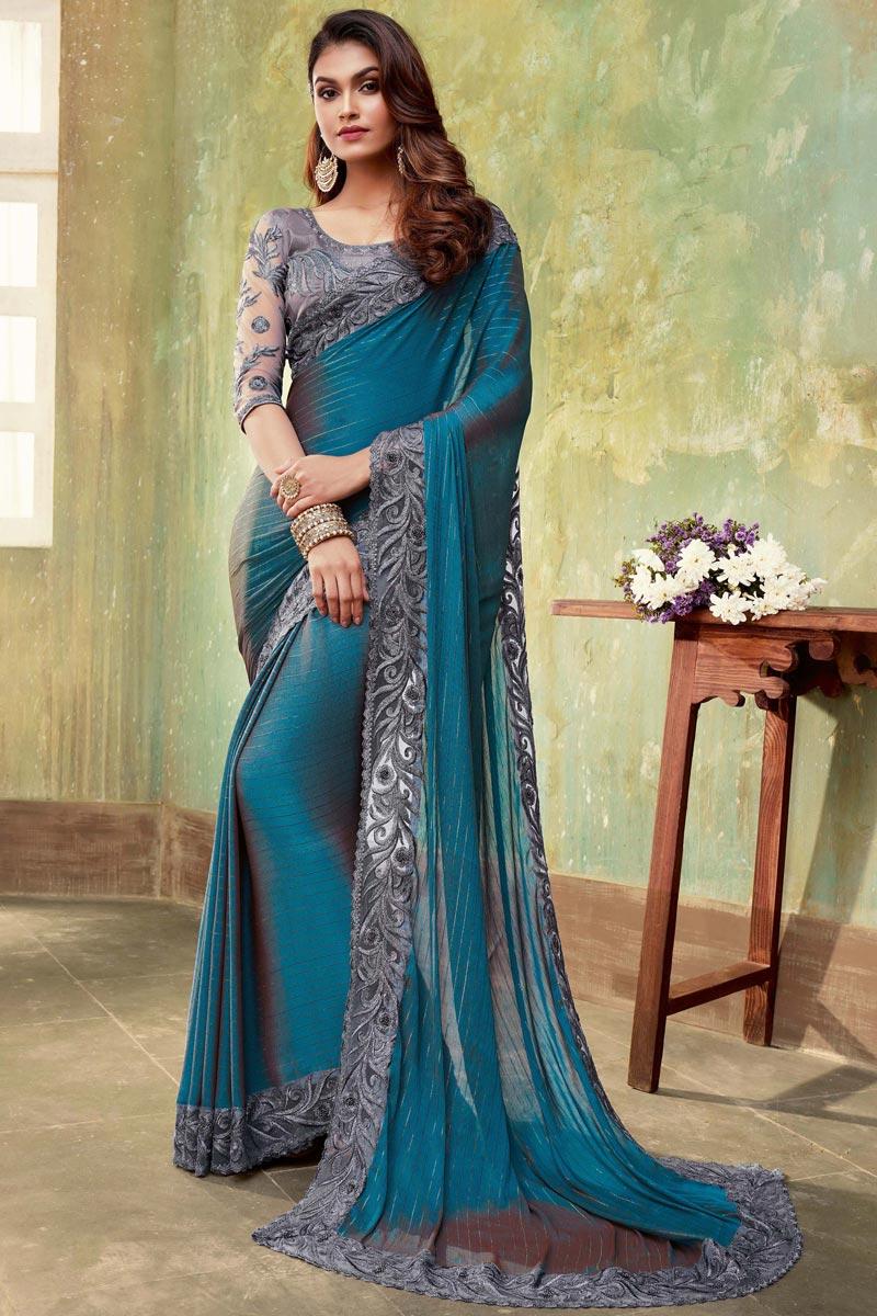 Dark Cyan Color Chiffon Fabric Occasion Wear Saree