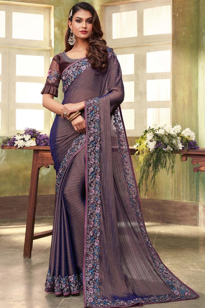 Fancy Violet Color Chiffon Fabric Sangeet Wear Saree