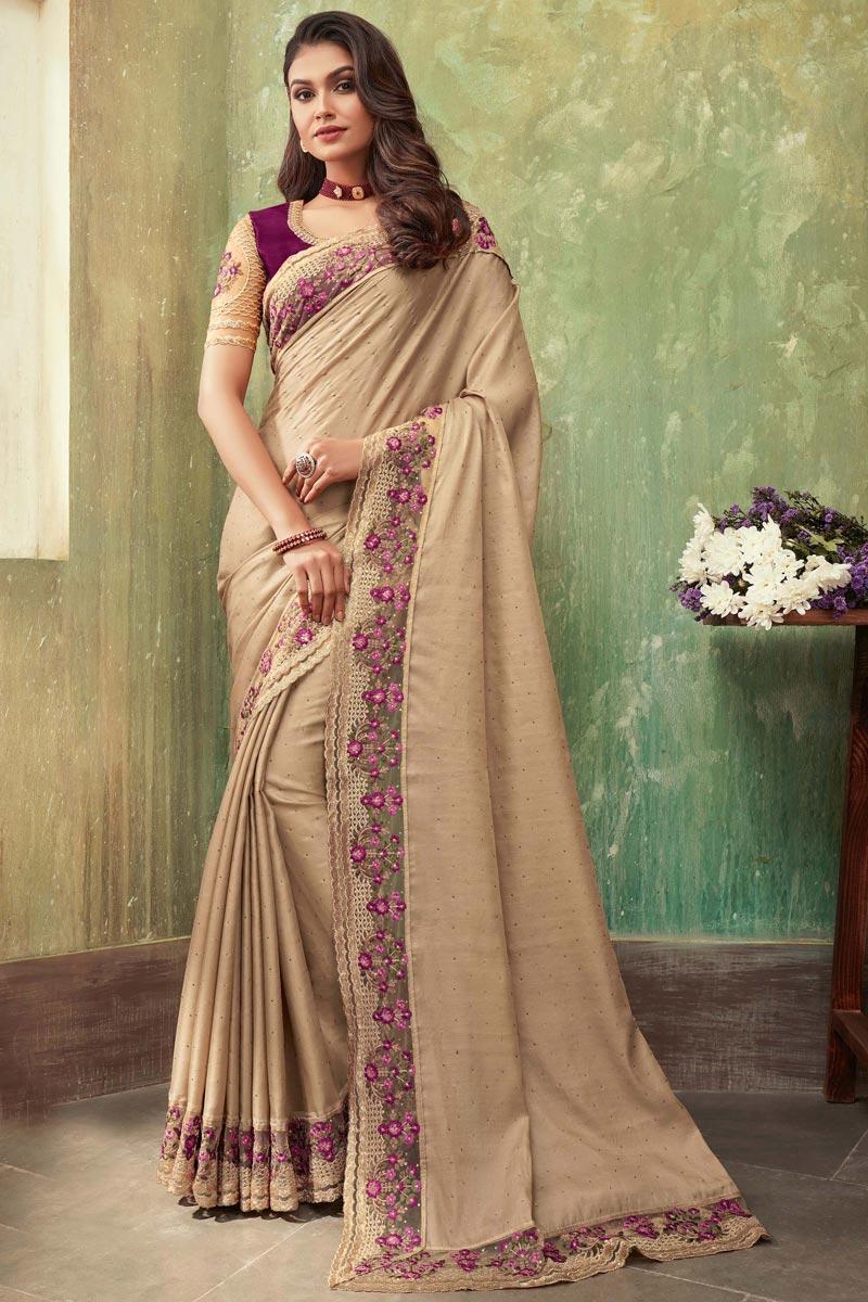 Designer Art Silk Fabric Beige Color Party Wear Saree
