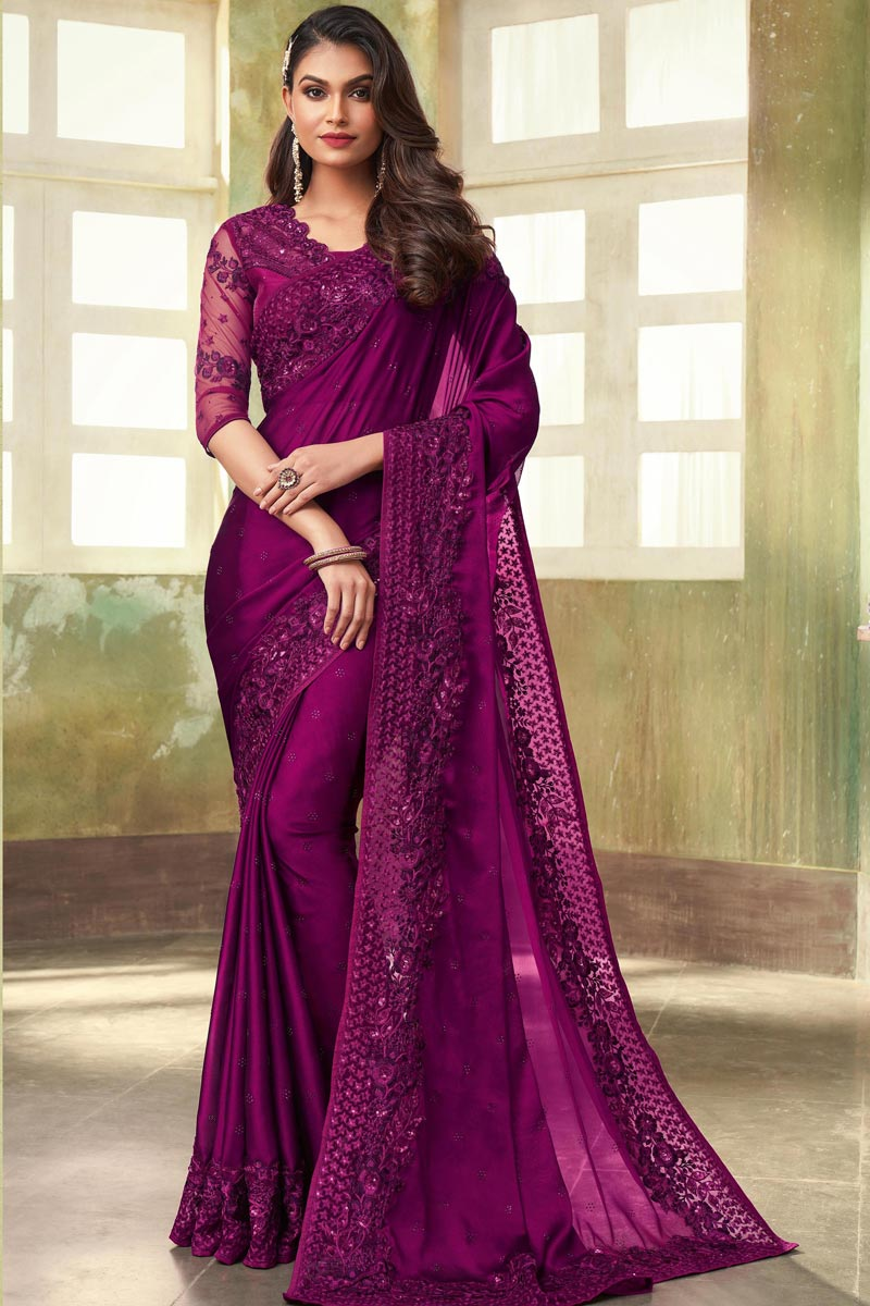 Fancy Art Silk Fabric Dark Magenta Color Saree