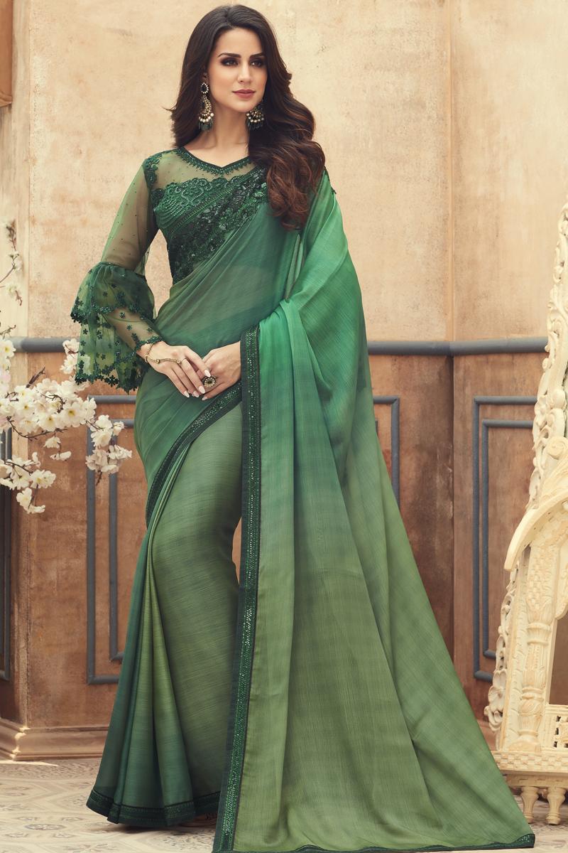 Festive Special Dark Green Color Designer Saree In Chiffon Fabric