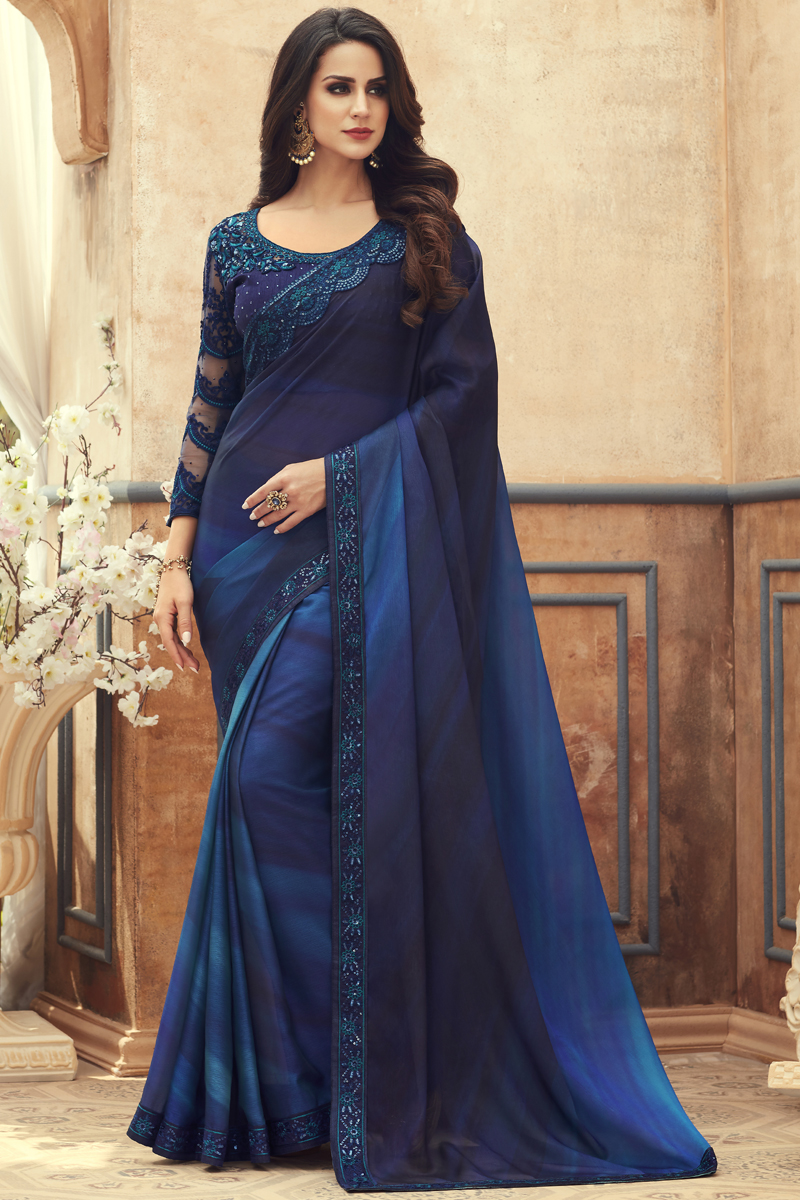 Festive Special Chiffon Fabric Party Wear Saree In Blue Color