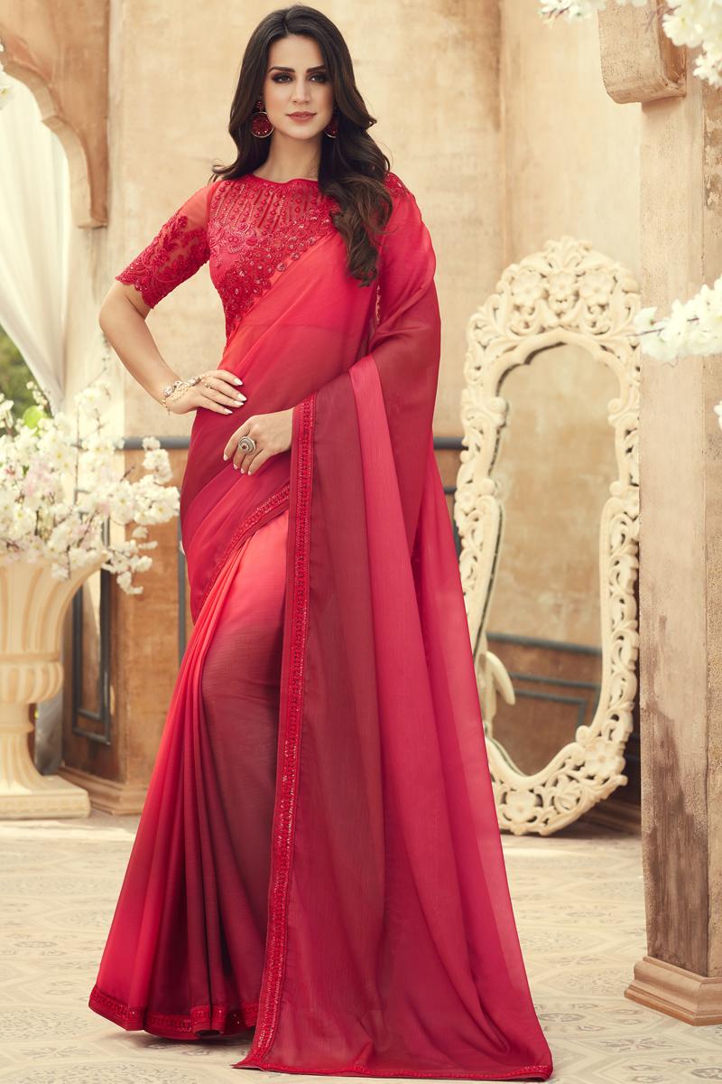 Red Color Chiffon Fabric Occasion Wear Saree