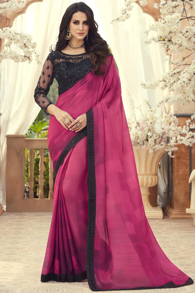 Rani Color Traditional Saree In Chiffon Fabric