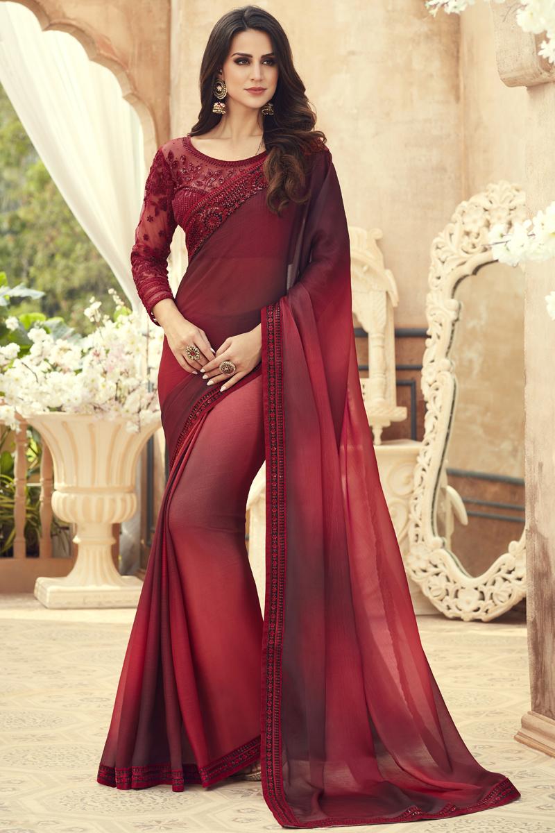 Festive Special Maroon Color Chiffon Fabric Function Wear Saree