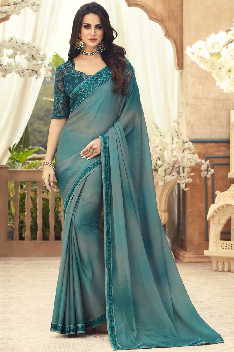 Festive Special Dark Teal Color Party Wear Saree In Chiffon Fabric