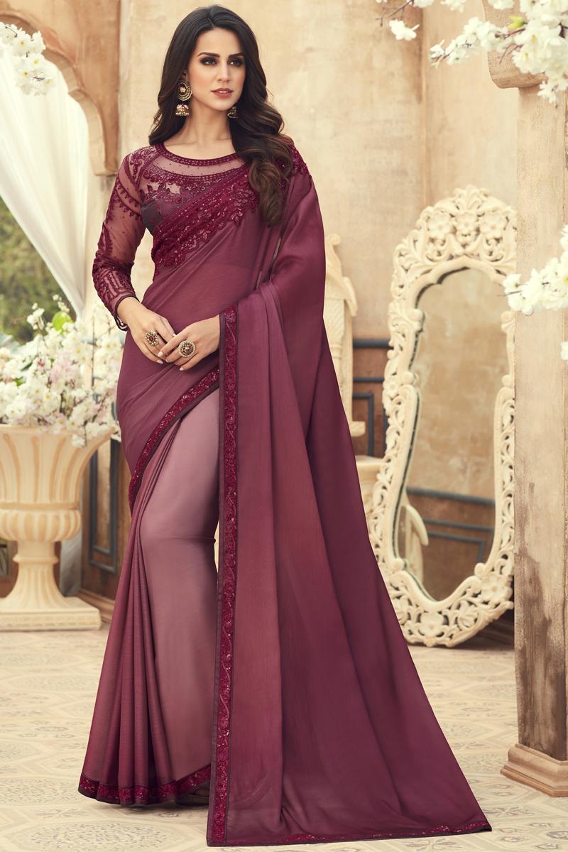 Chiffon Fabric Designer Saree In Burgundy Color