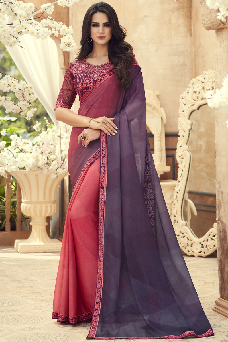 Fancy Chiffon Fabric Pink And Dark Lavender Color Saree