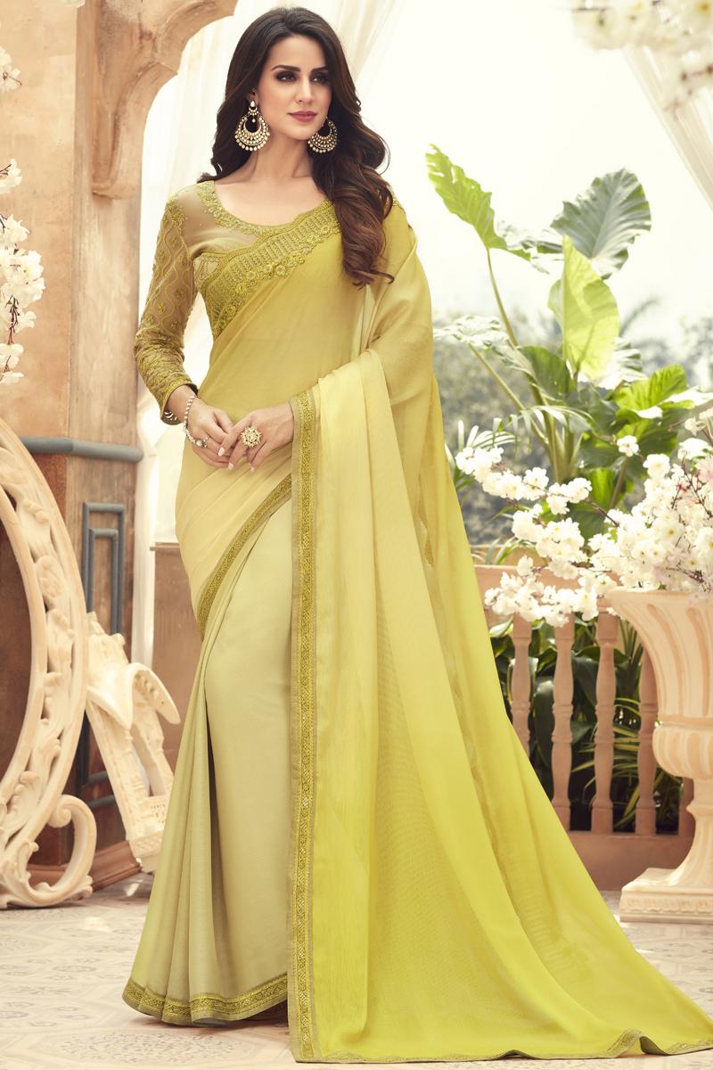 Yellow Color Chiffon Fabric Party Wear Saree